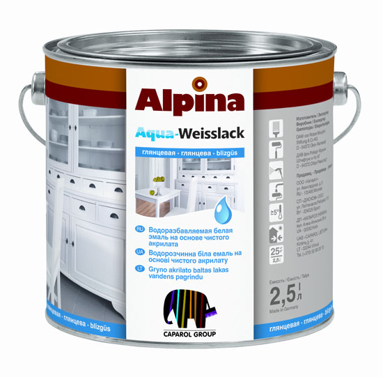 Водоразбавляемая белая эмаль alpina aqua weisslack
