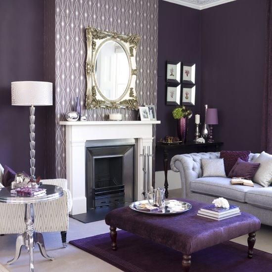 Гостиная - камин, диван, торшер, журнальный столик
