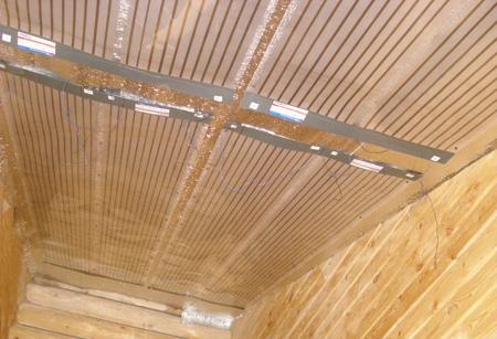 Схема размещения инфракрасных обогревателей на потолке