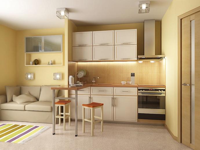 Кухня студия 30 м кв дизайн фото