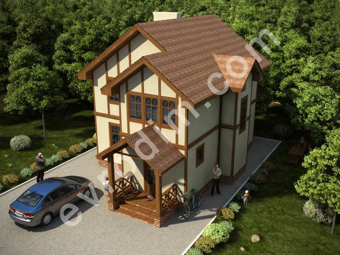 Проект двухэтажного дома Элегант в коттеджном городке Happy Land