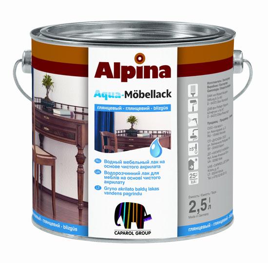 Водный мебельный лак alpina aqua moebellack
