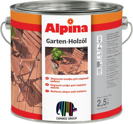 Эмульсия олифы для садовой мебели alpina garten holzoel