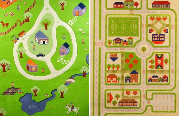 Коврик с изображением инфраструктуры городка и серпантина горного поселка будет способствовать развитию пространственного мышления у ребенка