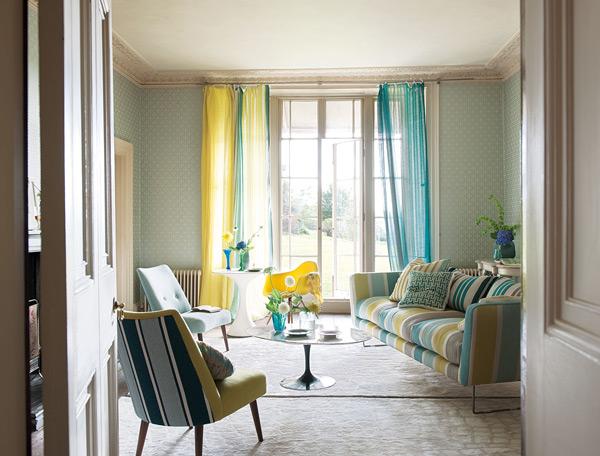 идей для интерьера гостиной Sussex Celadon