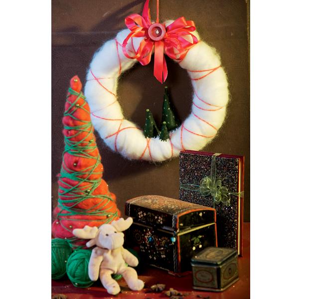 Новогодний декор из шерсти