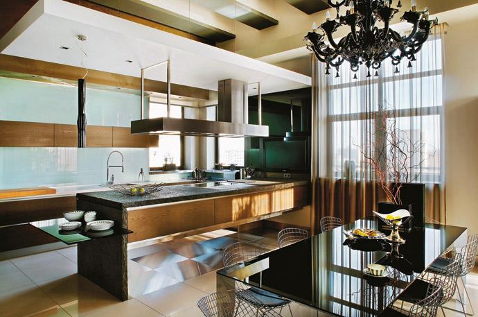 Кухня в современном стиле. Пентхаус фото