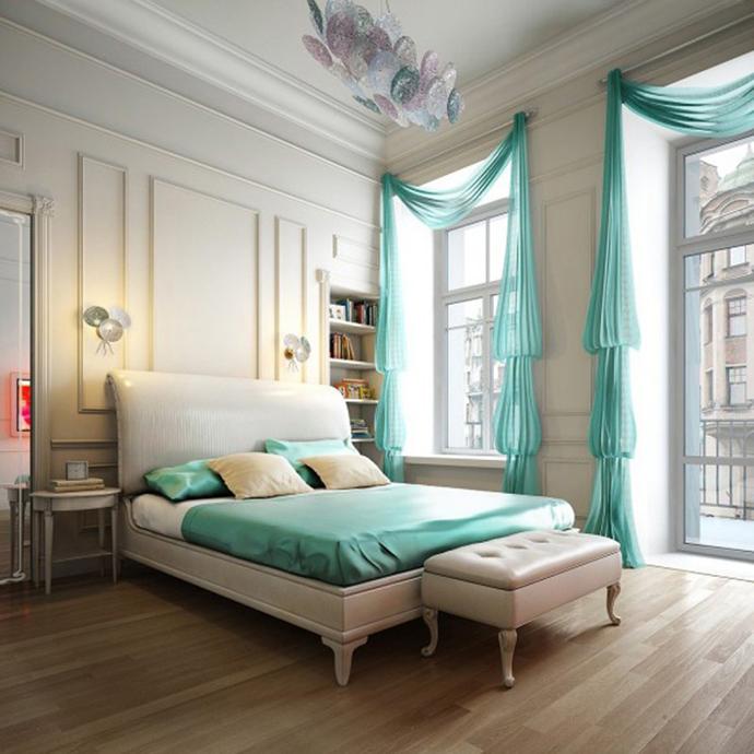 Красивая спальня в пастельных тонах. Спальни фото