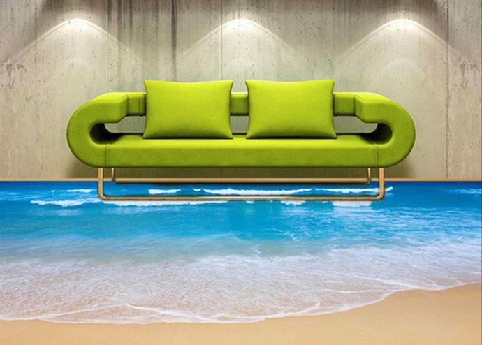 Наливные 3D полы в гостиной