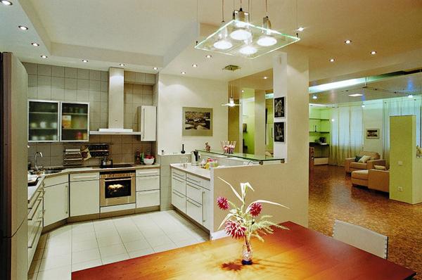 Освещение на кухне: люстры и светильники