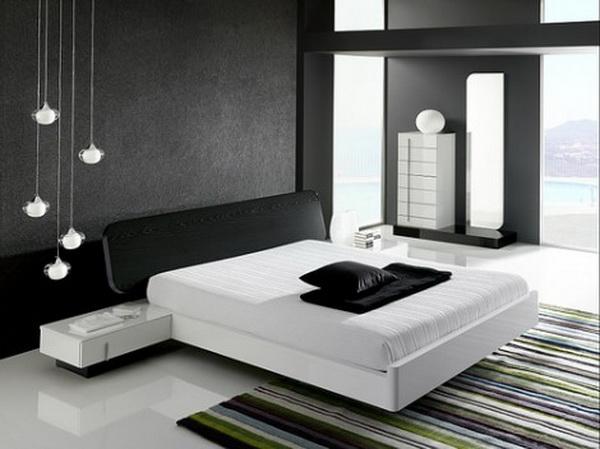 Оформление черно-белой спальни