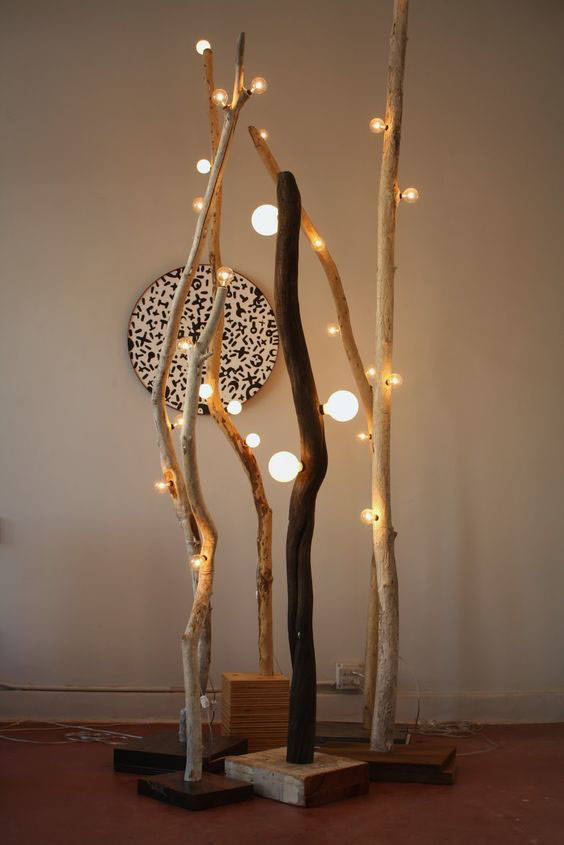 Декоративные светильники из ветвей
